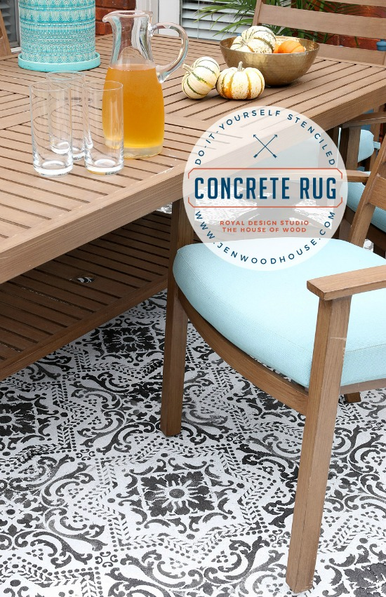 stenciled concrete rug