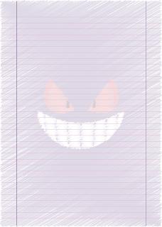 Papel Pautado do Gengar Pokemon rabiscado PDF para imprimir na folha A4