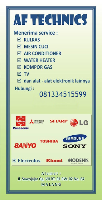 Service Kulkas, Mesin Cuci, AC, TV, Water Heater, Pompa Air dan Alat-Alat Elektronik di Malang dan Batu. Garansi 1 Tahun.