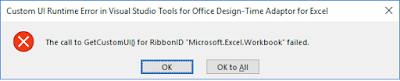 Error - The Call to GetCustomUI for RibbonID Microsoft.Excel.Workbook failed