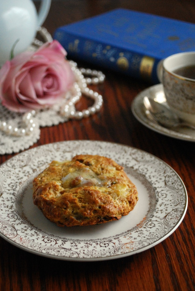 Pride and Prejudice Apple Bacon Cheddar Scone Recipe inspired by Jane Austen