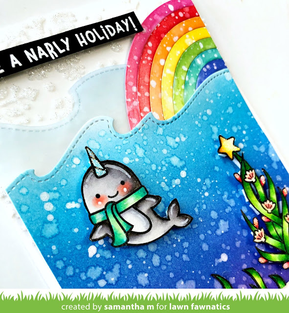 Have a Narly Holiday Card by Samantha Mann for Lawn Fawnatics Challenge blog, christmas, holiday, cards, distress inks, ink blending, Lawn Fawn, #lawnfawn #lawnfawnatics #distressinks #inkblending #christmas #narwhal
