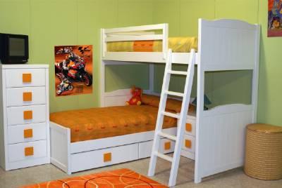 Dormitorioshabitaciones Juveniles E Infantiles Lacadas - Camas-dobles-infantiles-para-espacios-reducidos