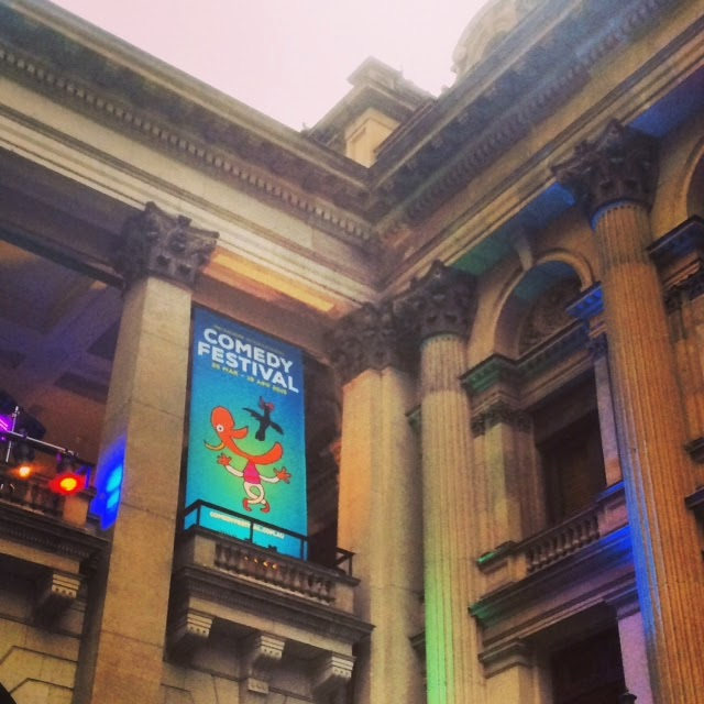 Melbourne Town Hall lit up for Comedy Festival
