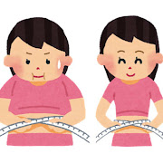 ウエストを測っている女性のイラスト(ダイエット)