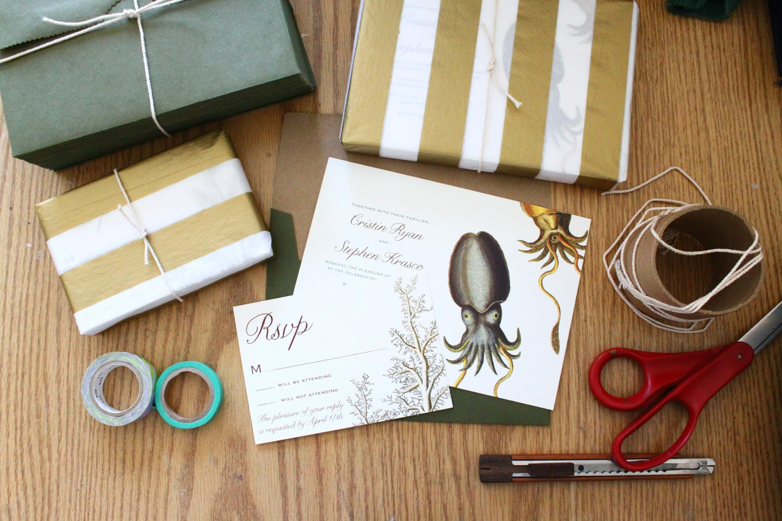 Beautiful Marine Life Wedding Invitations Featuring Green Cuttlefish from Concertina Press