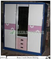 Lemari 3 pintu Minimalis Modern Rose