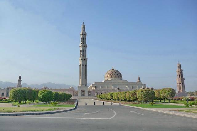 gross, Sultan, Qabus, Moschee, Muscat, Oman, Strasse, Garten