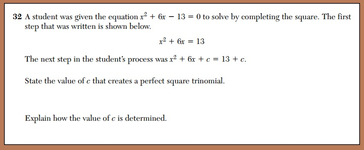 X why daily regents completing the square august 2014 august 2014 questions 32 ccuart Choice Image