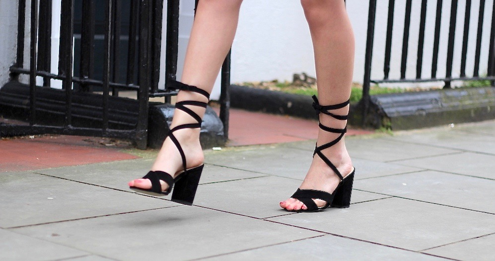 black lace up sandals ego