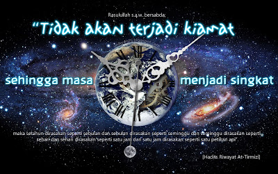 Wallpaper Islamik kata-kata hikmah - Masa akan menjadi singkat - Earth clock