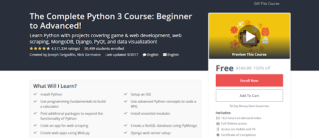 The Complete Python 3 Course: Beginner to Advanced!