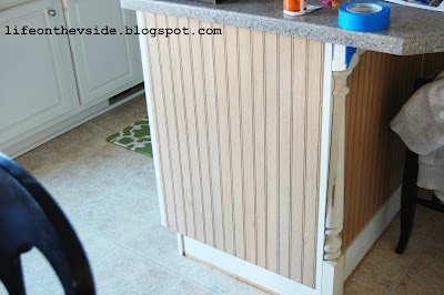 On the v side diy kitchen island update - Kitchen island with post ...