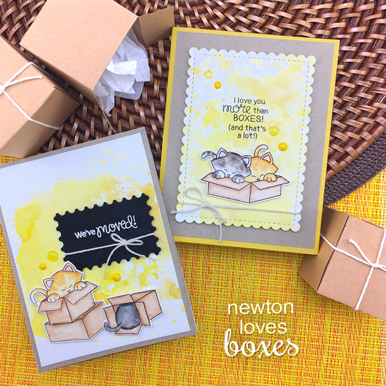 Cat in Boxes Cards by Jennifer Jackson |  Newton Loves Boxes Stamp Set by Newton's Nook Designs #newtonsnook #handmade