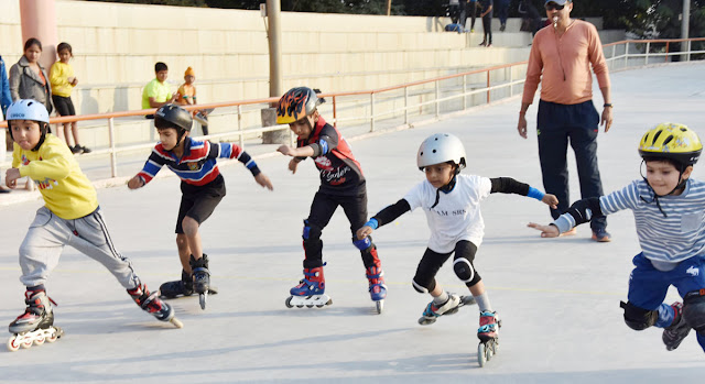 In the 30th district level roller skating competition in Faridabad, young roller skaters displayed