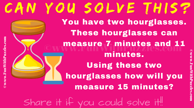 In this hourglass problem your challenge is calculate exactly 15 mins with 7 and 11 minute hourglasses