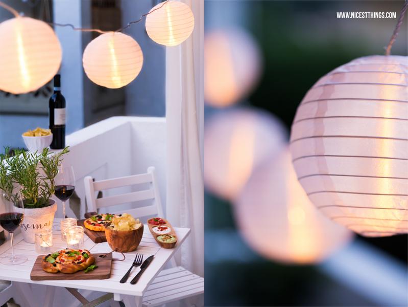 Lichterkette Balkon, Pizza Spirale, italienischer Dip