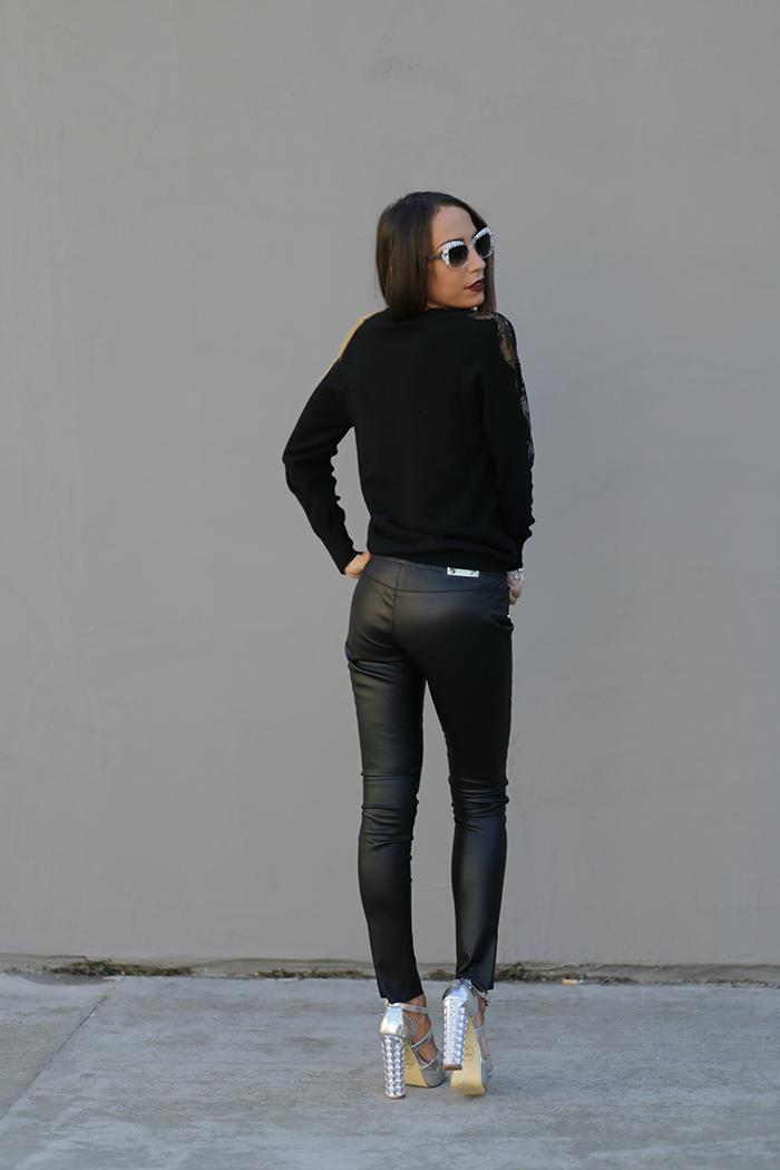 In Di Via Delle Pantaloni E Pelle Pizzo Look Perle Dettagli 8OPwyNmvn0