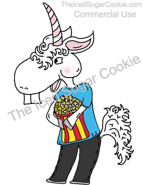 Unicorn Eating Popcorn Clipart Illustration Drawing by The Iced Sugar Cookie Buy Now