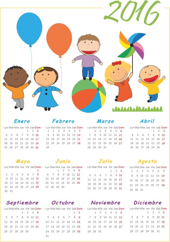 2016 Calendario de Niños
