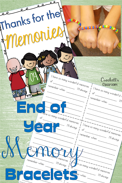 End of Year Memory Bracelets, wonderful way to share all the wonderful memories from the school year.