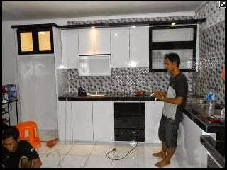 kitchen set white combinasi black