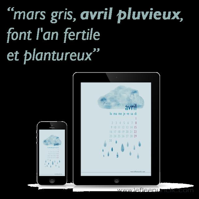 proverbes en français, fond d'ecran à télécharger, avril pluvieux, FLE