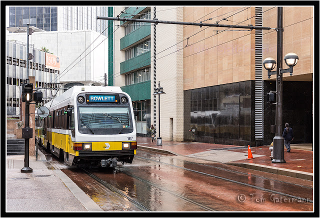 A DART Blue Line train after the rain in Dallas, TX.