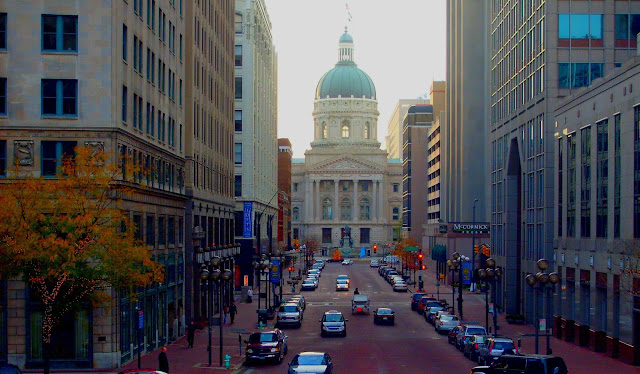 Indiana Photo of the Day - View Down Market Street - Indiana Capitol