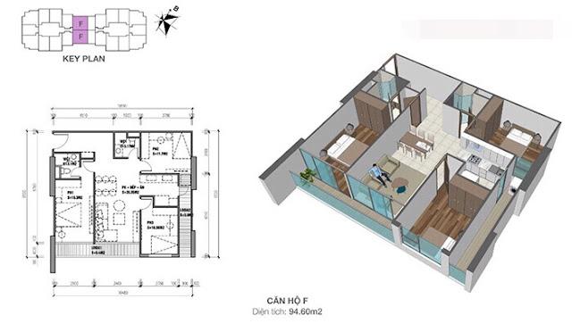Thiết kế căn hộ Eco Dream loại F - 3 phòng ngủ
