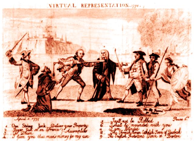 Representación virtual 1775 Lord Bute apunta un trabuco en un hombre que  representa la América colonial  un miembro del Parlamento 8fe63acff820
