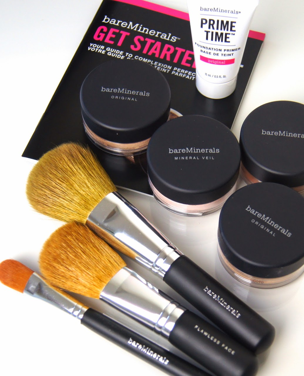 bare minerals get started bundle kit review original spa 15 foundation prime time primer mineral veil warmth powder bronzer brushes