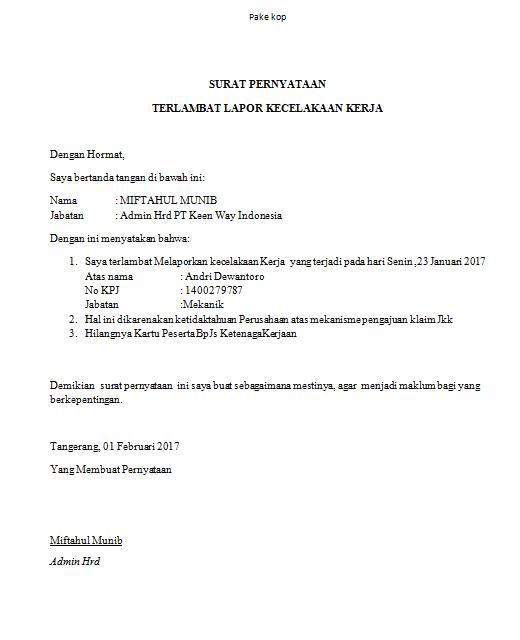 Contoh Surat Keterangan keterlambatan untuk Klaim jkk kecelakaan kerja BPJS ketenagakerjaan