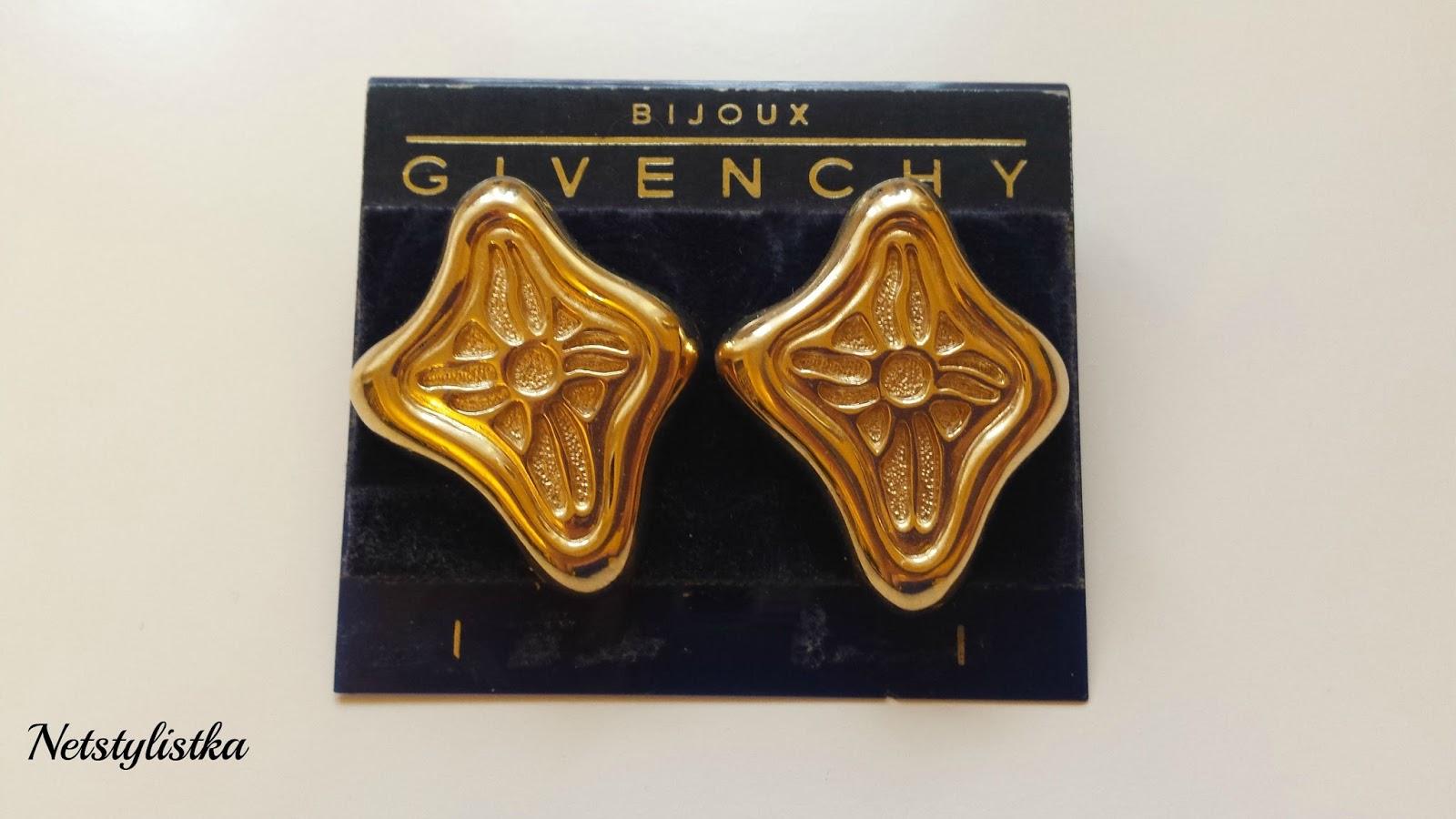Givenchy złote kolczyki vintage, stara biżuteria markowa od projektantów
