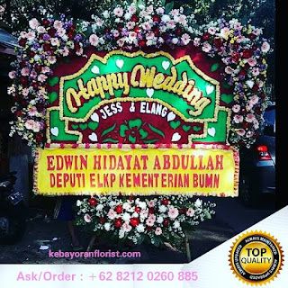 toko bunga online papan happy wedding