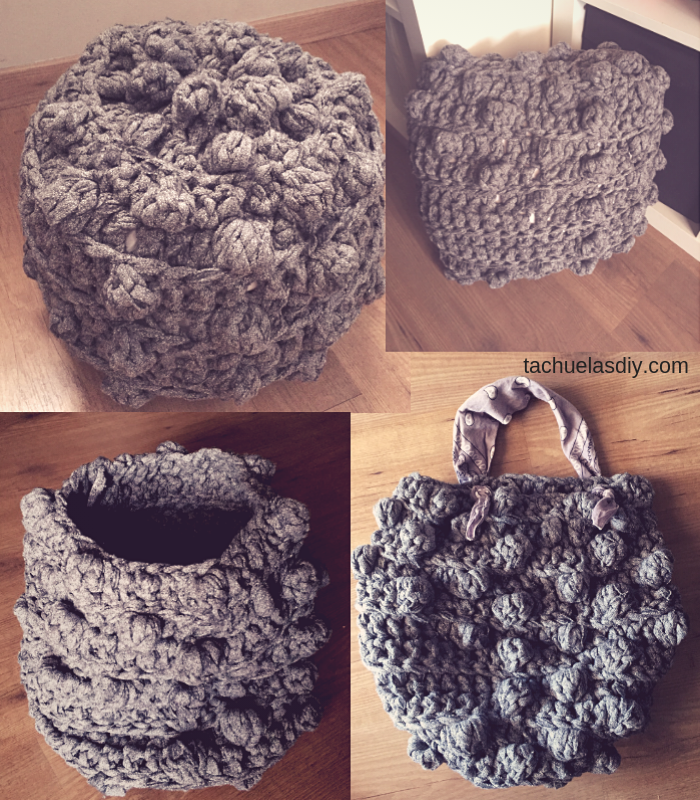 4 proyectos de decoración en 1 solo patrón a ganchillo o crochet, podrás hacer un puff,una cesta,un bolso,un cojín ,es genial...