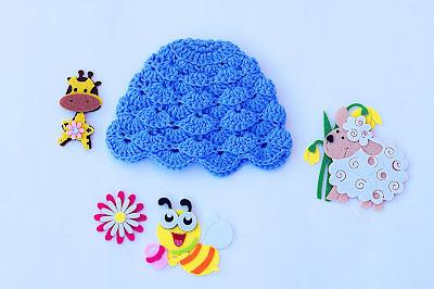 3 - Imagen gorro chambrita de abanicos en relieve a crochet. Majovel crochet