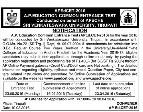 AP Ed.CET,Schedule,B.Ed 2 Year Course Admissions