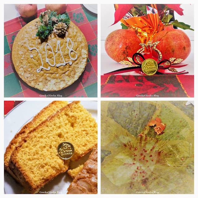 Grecka tradycja na stole kołacz noworoczny, czerwony granat, ciasto, ziarenka granatu.