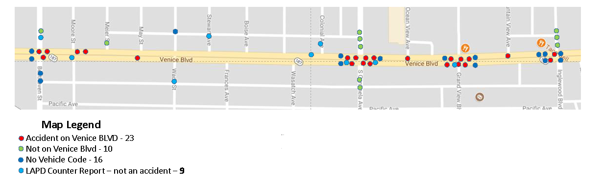 Map of LADOT's data for accidents on Venice Blvd from May 2016 to April 2017
