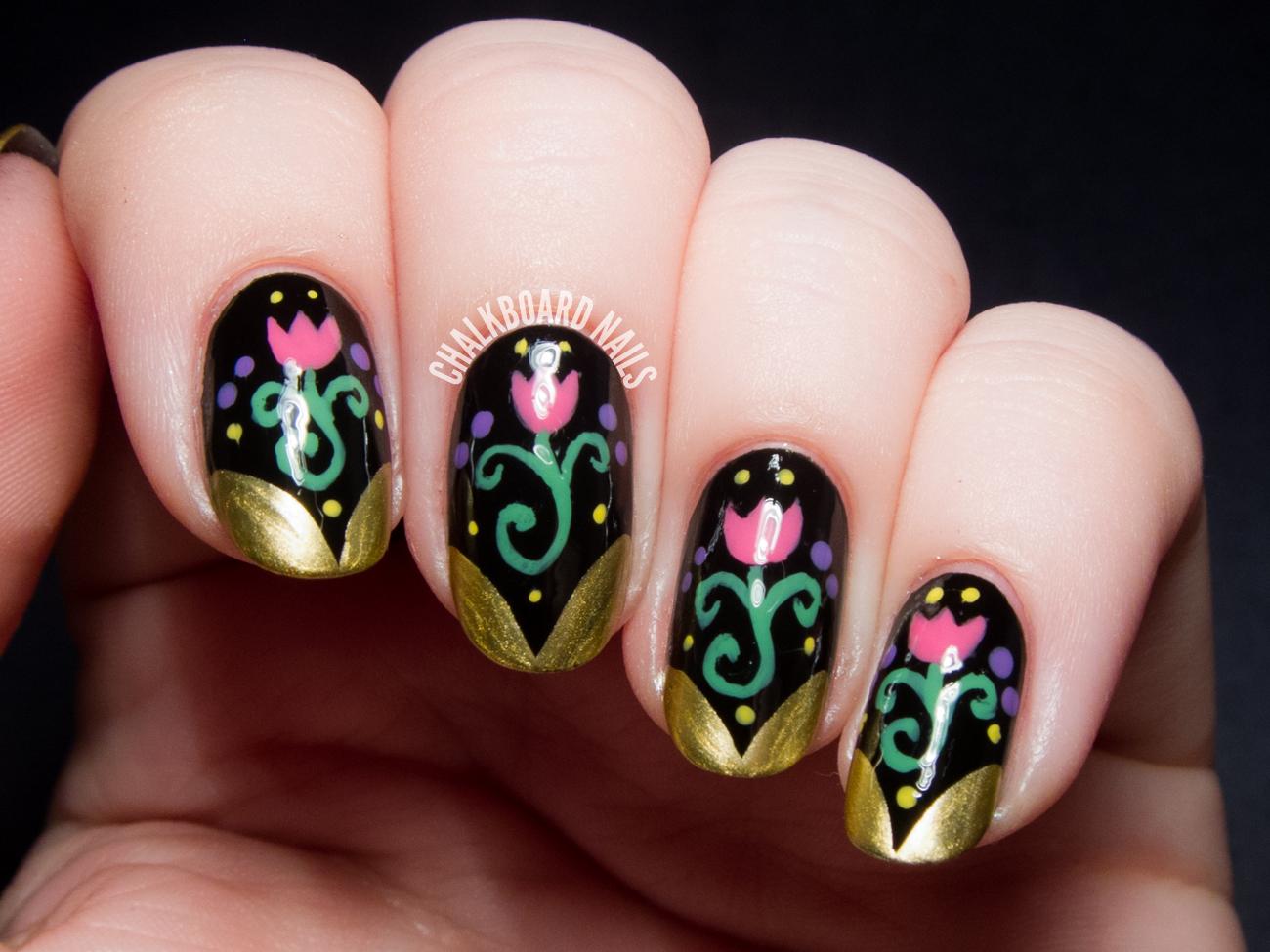 Anna Inspired Frozen Nail Art | Chalkboard Nails | Nail ...