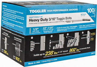 Box of Toggler heavy duty toggle bolts
