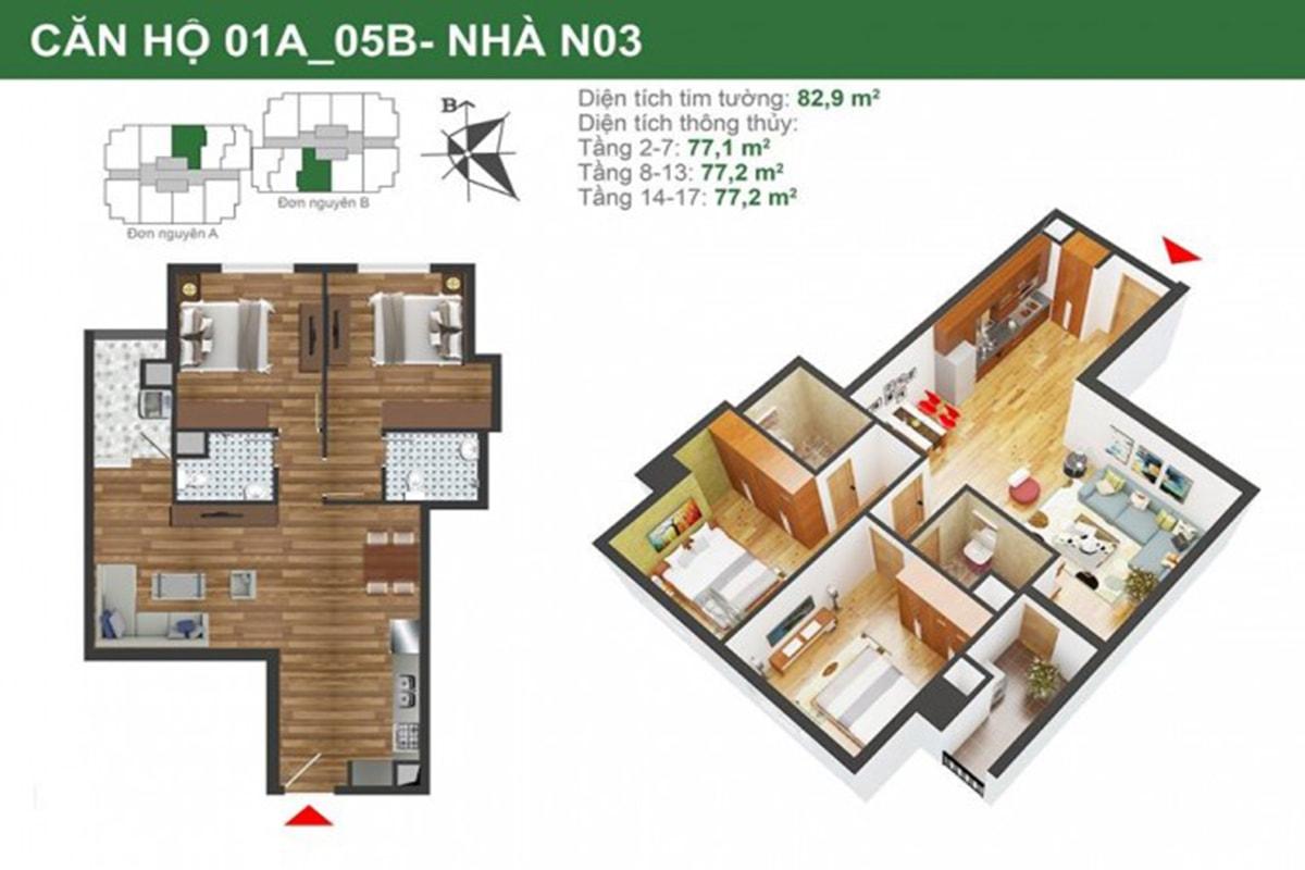 Mặt bằng căn hộ N03