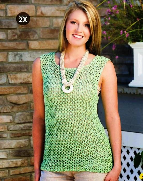 Blusa sencilla sin mangas crochet