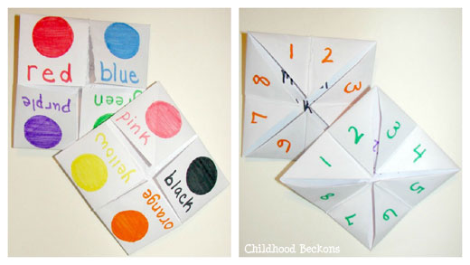 how to make pick a number paper game