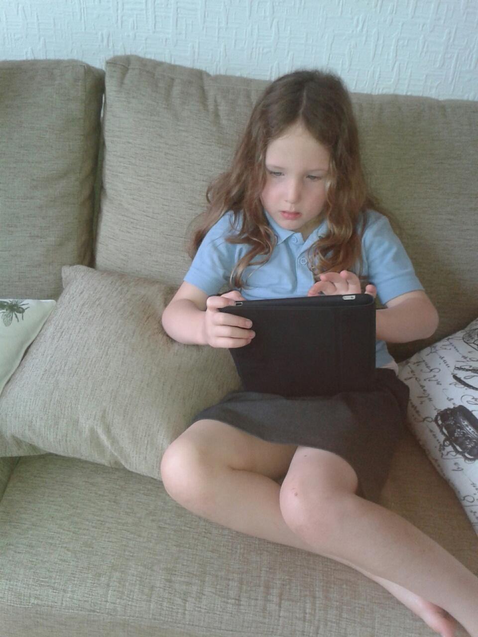 Caitlin with iPad
