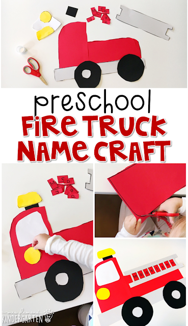 This fire truck name craftivity is fun for name writing, recognition, and fine motor practice with a fire safety theme. Great for tot school, preschool, or even kindergarten!