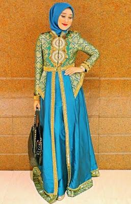 model baju pesta batik muslimah