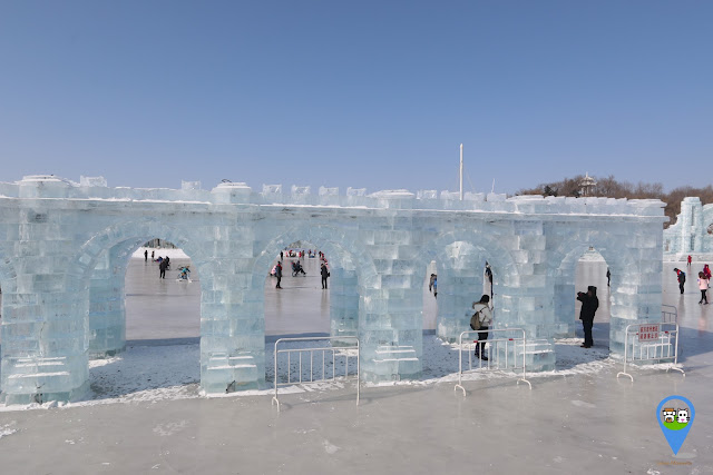 Castle wall in ice sculpture at Harbin Snow Sculpture Art Expo in Heilongjiang province, China