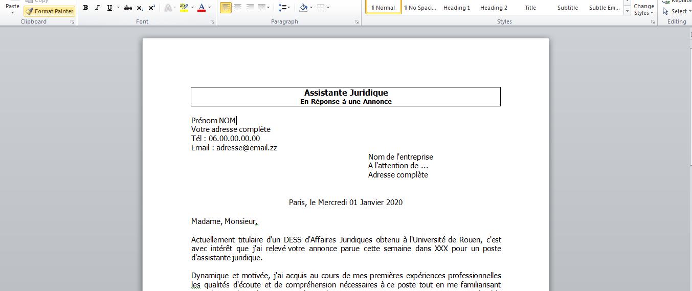 Exemple Lettre De Motivation Assistante Juridique Reponse A